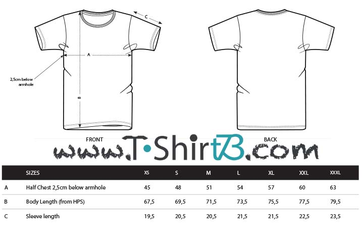 Schema taglie T-Shirt Tee Seventy Three uomovstreetwear